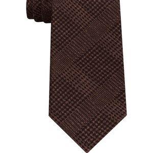 Brown Printed Glenn Plaid Silk Woven Tie NWT $70